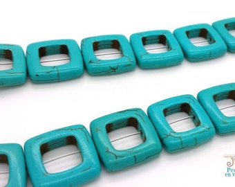 6 nuggets turquoise connectors 19x19mm (ph156)
