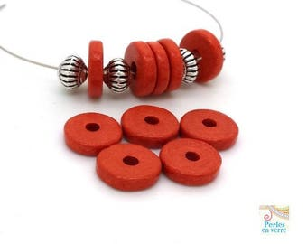 Orange brick: 10 beads matte ceramic rondelles, 2.5x12mm, Greece (pc183)