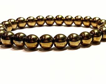 magnetic hematite bracelet gold hematite jewelry healing stones bracelet for women men stretch gemstone jewelry gift for women