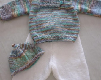 Set baby size 6 months hand knitted