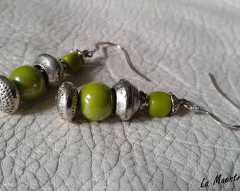 """Earrings Silver 925 and glass Bohemian Collection"" boho Chic ""- artisan jewelry - green glass beads."