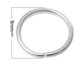 100 round silver 8mm diameter jump rings