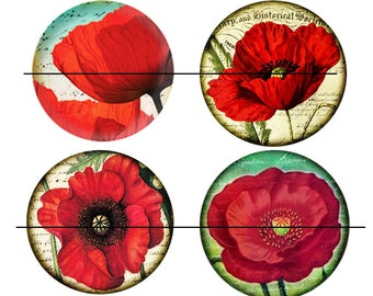 SALE 25 mm 4 nice Cabochons glass 25 mm poppies stick