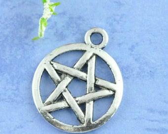 5 pendants charm Pentacle Pentagram 20x17mm