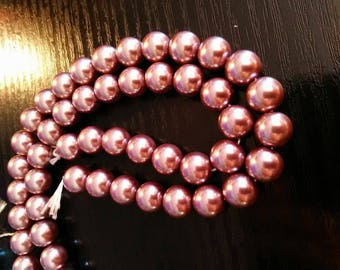 taupe 10 mm/10 10 mm Pink Pearl glass beads