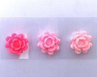 Pack of 3 flowers in resin embellishment stickers