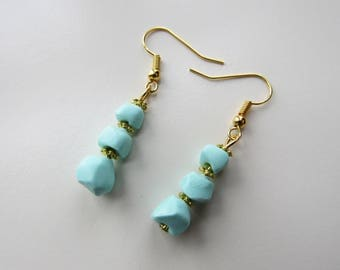 Mint polymer clay stones and gold earrings