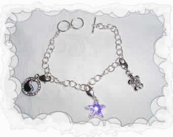 Silver charms with pearl riviera swarovski chain bracelet