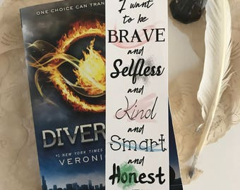 Divergent Bookmark, Insurgent Bookmark, Allegiant Bookmark, Fourtris Bookmark, Dauntless Bookmark, Quote Bookmark, Bookworm Bookmark