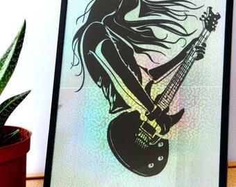 Frame Papercut Kirigami guitarist