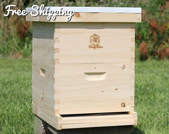 Bee Hive 10 Frame Langstroth - 2 Deep Brood Boxes includes Frames / Foundations