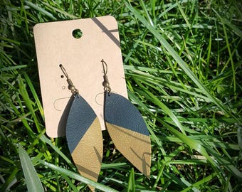 Green English and gold leaf earrings