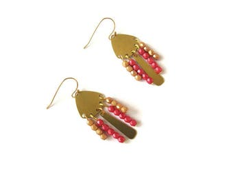 Golden earrings red and yellow beads