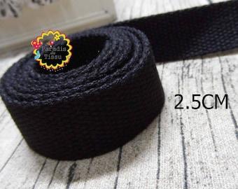 1 meter of strap lace 2.5 cm black cotton bag