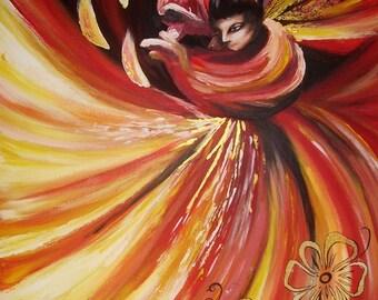 Flame, unique artwork signed