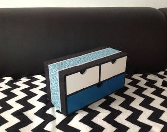 Geometric... Jewelry box, box 3 drawers for storage, living room, office, kitchen, bedroom, etc...