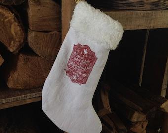 Small white cotton and Ecru fur Christmas sock