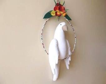 Decoration, collection, bird cockatoo cotton on his perch, unique felt flowers, gift
