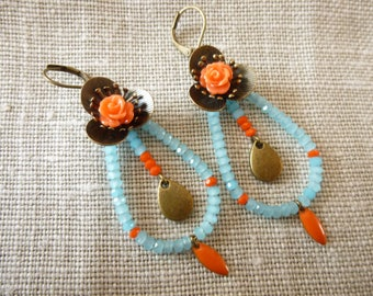 Earrings big blue flowers / orange