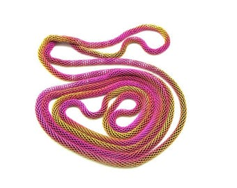 1 braided 1.18 m gradient pink and yellow - Metal chain necklace