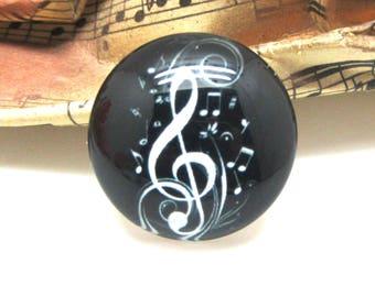 2 cabochons glass music black 10 mm - 10 mm