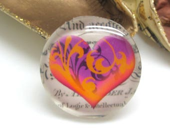 1 cabochon 25 mm glass heart Vintage purple and Orange - 25 mm
