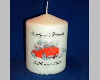 Candle custom wedding 8cm in height, Inscriptions and design choice