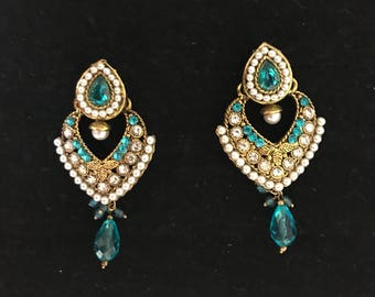 Blue indian earrings. Indian earrings. Aqua colored stone earrings with gold base