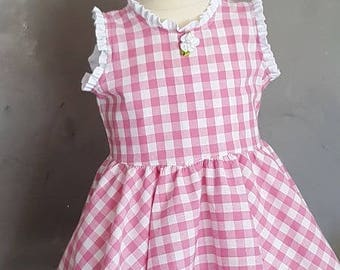 Baby Pink and white gingham dress. HAND MADE
