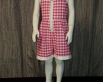 Pink/White gingham cotton romper. 2/3/4 years old. HAND MADE