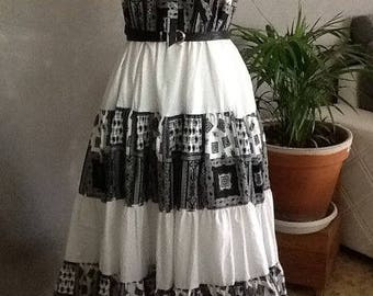 1 Provencal cotton skirt grey white and black hand made