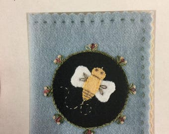 wool applique kit with a bee for a needle book