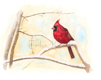 Red Cardinal bird sitting on a branch watercolor painting, watercolor print, art decor, nature, bird painting, snow, winter