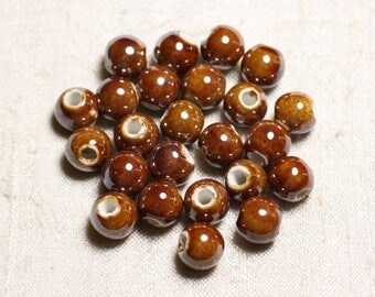 10pc - beads ceramic porcelain balls 10 mm iridescent Brown - 4558550088758