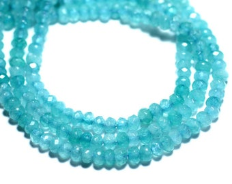30pc - beads - faceted Rondelle 4x2mm Turquoise Blue Jade - stone 8741140008076