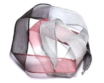 Hand dyed silk ribbon necklace 85 x 2.5 cm Rose Red gray black SOIE184 - 8741140003361