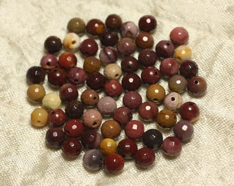10pc - stone beads - Moukaite Jasper balls faceted 6mm 4558550025852