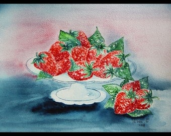 Original illustration painted in watercolor on ARCHES 300 g/m²fraises garden