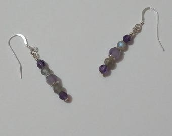 Cléophée Amethyst Labradorite Silver earrings