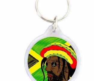 Rastaman Keychain - reggae Ø40mm