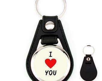 Leather Keychain I love you