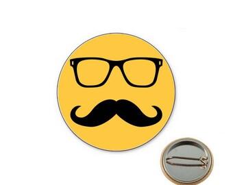 Mustache yellow Ø25mm pin badge