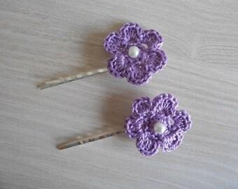 set of 2 clips beige cotton crochet flowers