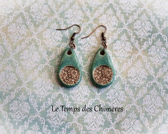 Earrings ceramic flowers