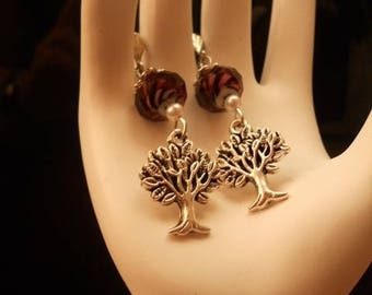 trees plum earrings