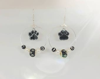 Black and silver dog or cat paw earrings