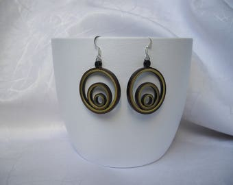 Earrings creole paper, 3 circles, quilling