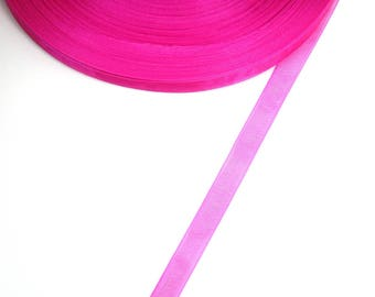 5 meters of 10 mm FUCHSIA color organza Ribbon