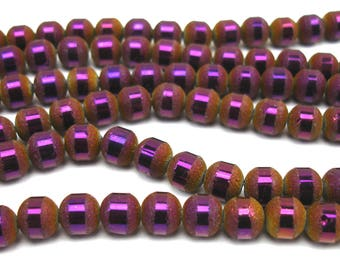 20 8 mm frosted and metallic plum color glass beads