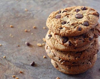 Chocolate Chip Cookies Food Photography Print, Fine Art Prints, Wall Art for Kitchen, Home Decor